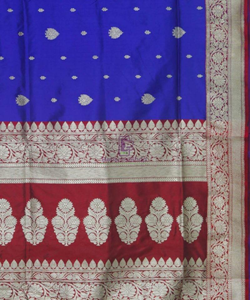 Banarasi Pure Katan Silk Handloom Admiral Blue Saree 3