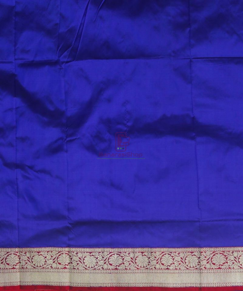 Banarasi Pure Katan Silk Handloom Admiral Blue Saree 4