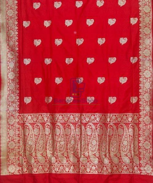 Banarasi Pure Katan Silk Handloom Ruby Red Saree 5