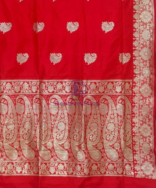 Banarasi Pure Katan Silk Handloom Ruby Red Saree 6