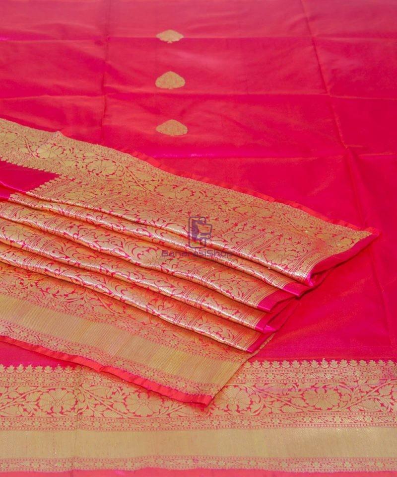 Banarasi Pure Katan Silk Handloom Magenta Pink Saree 1