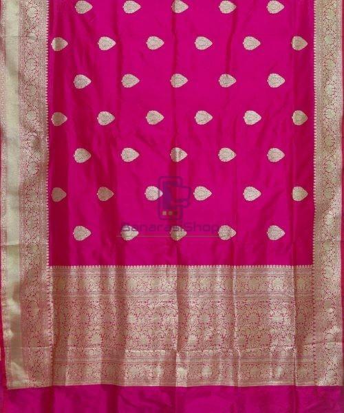 Banarasi Pure Katan Silk Handloom Magenta Pink Saree 5