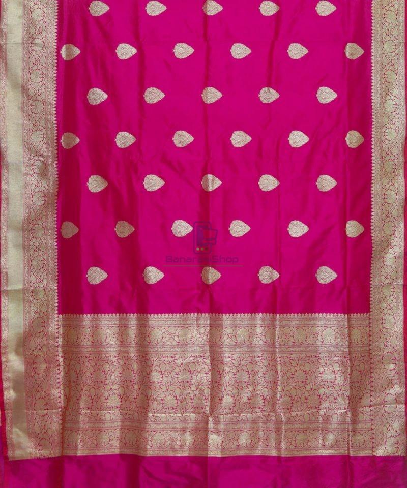 Banarasi Pure Katan Silk Handloom Magenta Pink Saree 2