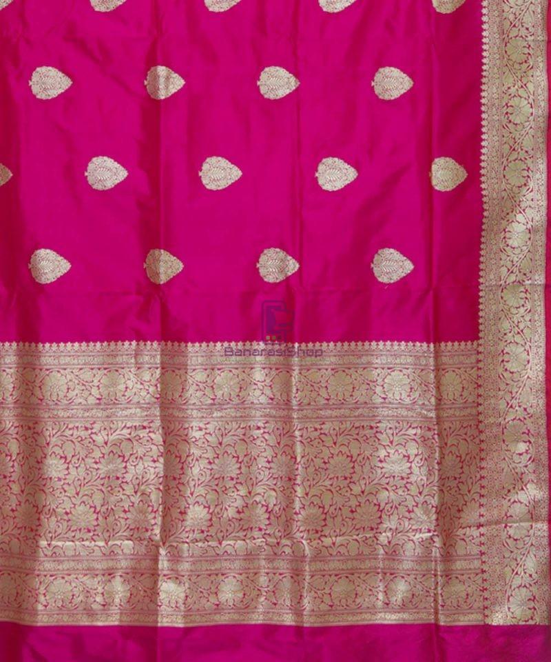 Banarasi Pure Katan Silk Handloom Magenta Pink Saree 3
