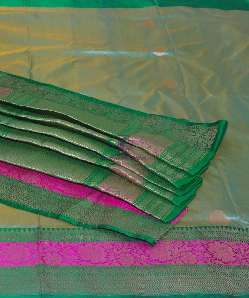 Banarasi Pure Katan Silk Handloom Sky Blue Green Saree 1