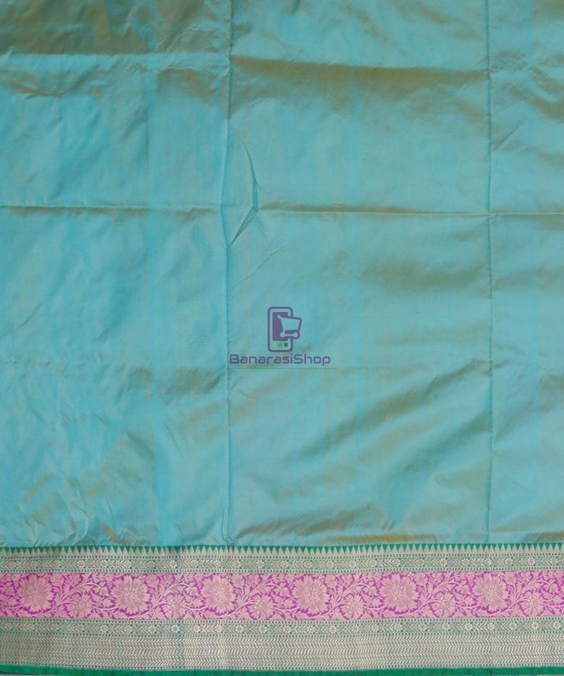 Banarasi Pure Katan Silk Handloom Sky Blue Green Saree 4