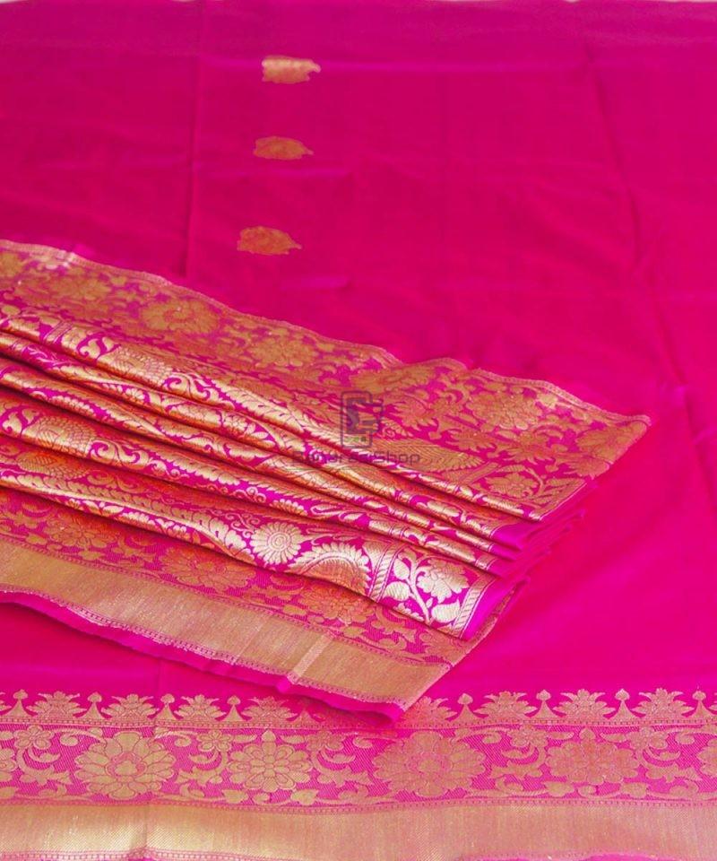 Banarasi Pure Katan Silk Handloom Pink Magenta Saree 1