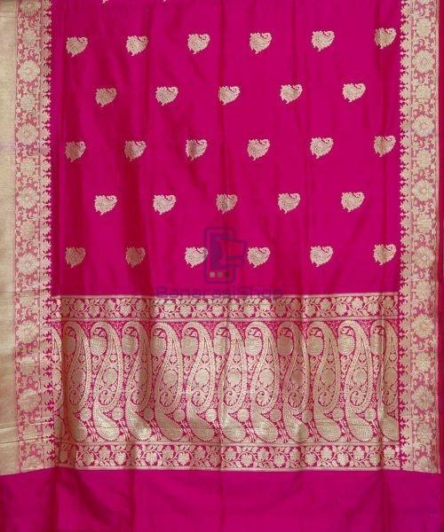 Banarasi Pure Katan Silk Handloom Pink Magenta Saree 5