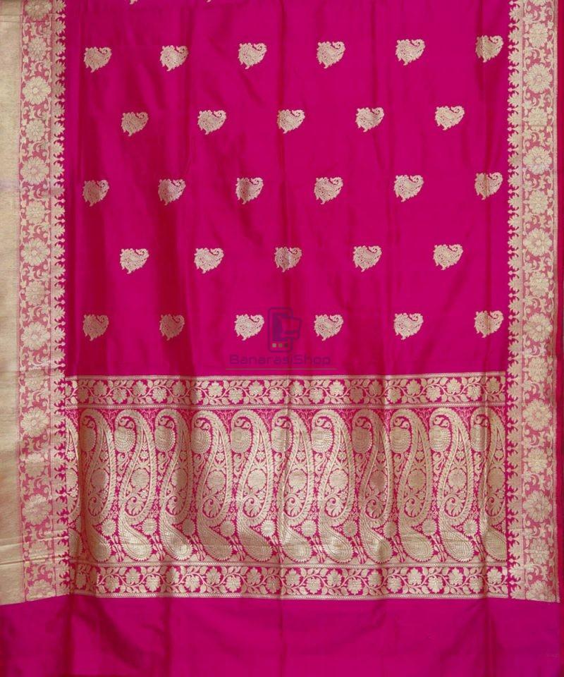 Banarasi Pure Katan Silk Handloom Pink Magenta Saree 2