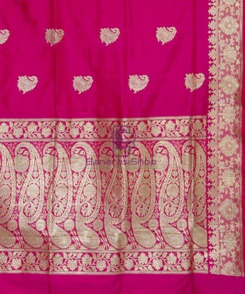 Banarasi Pure Katan Silk Handloom Pink Magenta Saree 6