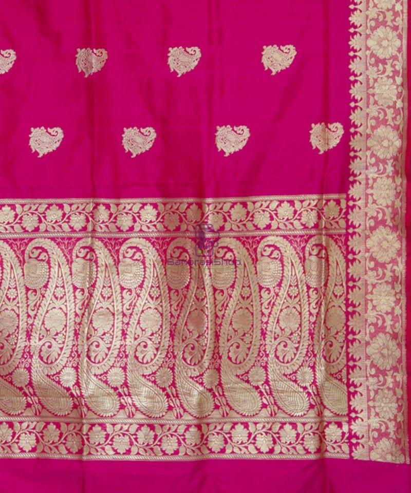 Banarasi Pure Katan Silk Handloom Pink Magenta Saree 3