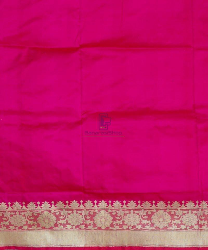 Banarasi Pure Katan Silk Handloom Pink Magenta Saree 4