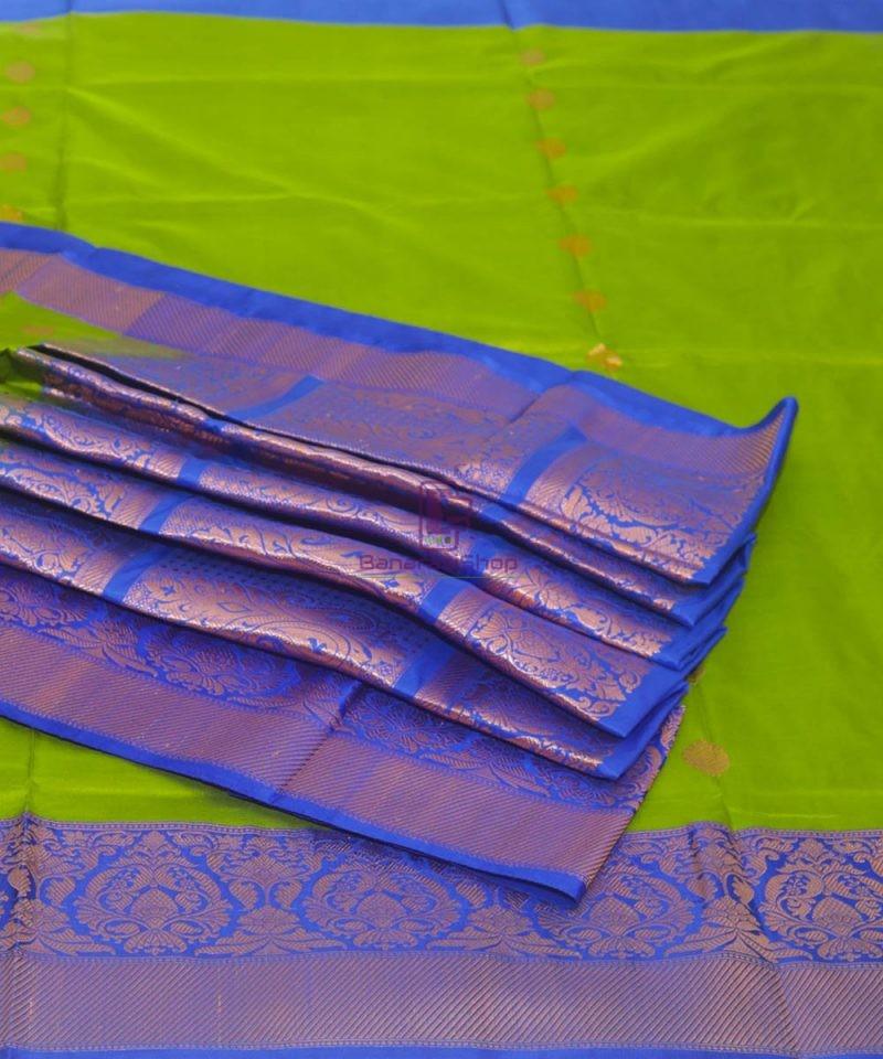 Banarasi Pure Katan Silk Handloom Parrot Green Saree 1
