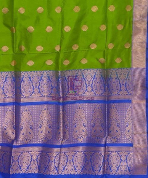 Banarasi Pure Katan Silk Handloom Parrot Green Saree 6