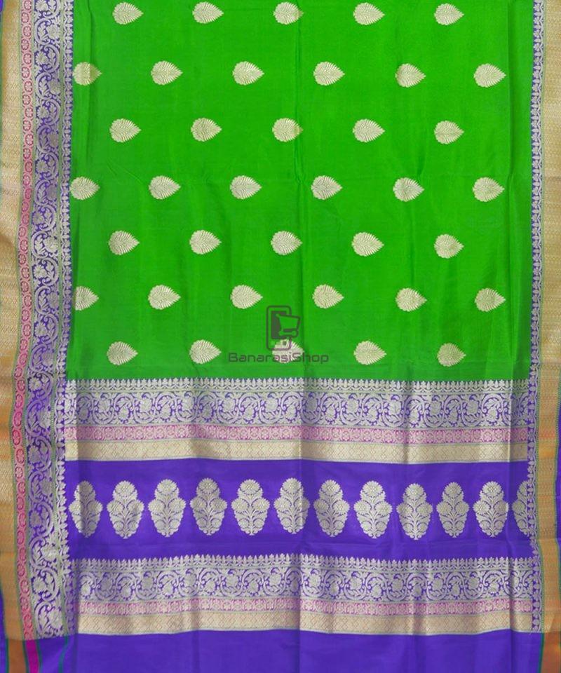 Banarasi Pure Katan Silk Handloom Parrot Green Saree 2