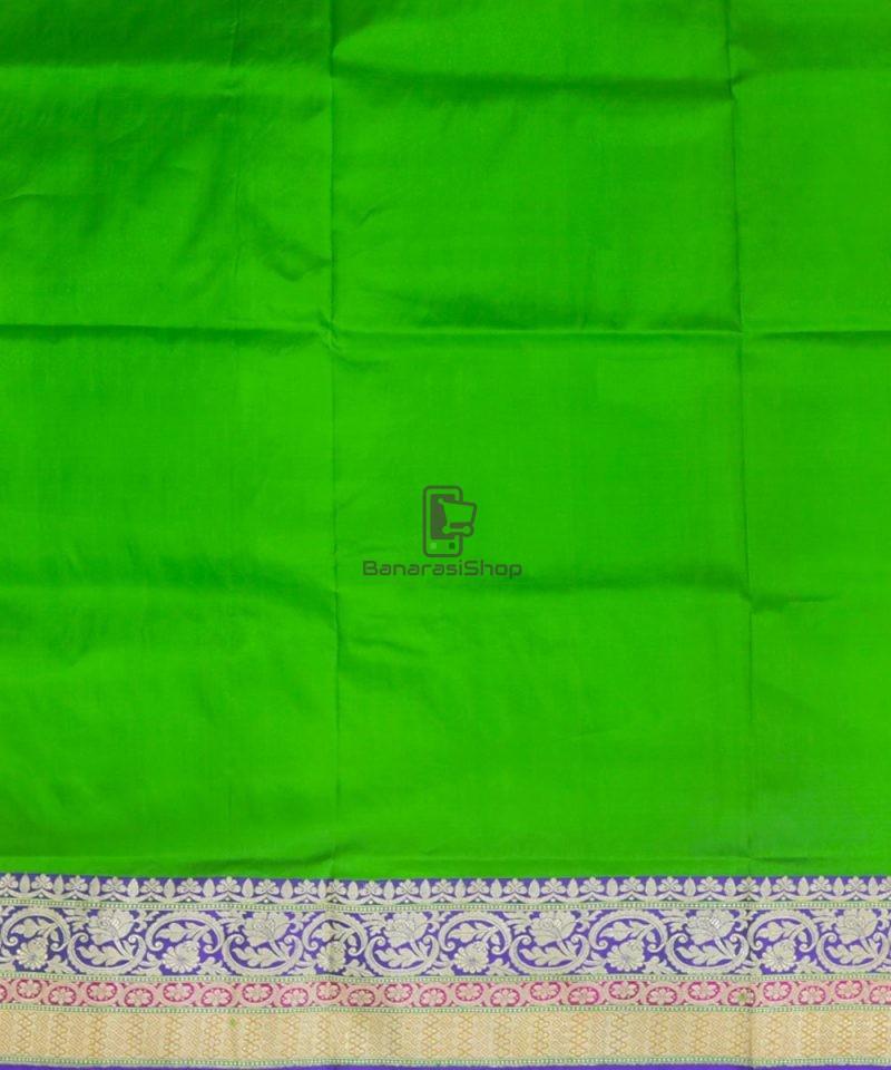 Banarasi Pure Katan Silk Handloom Parrot Green Saree 4