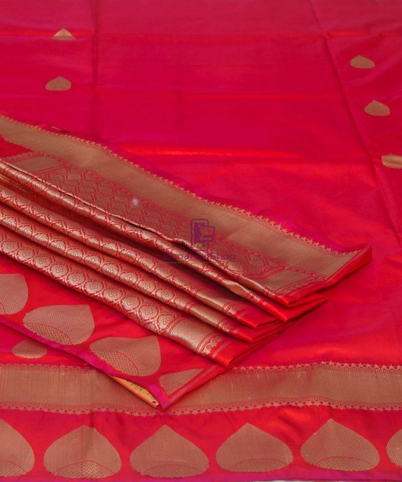 Banarasi Pure Katan Silk Handloom Rose Red Saree 1
