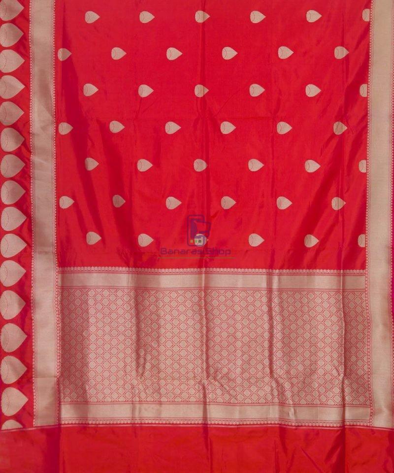 Banarasi Pure Katan Silk Handloom Rose Red Saree 2