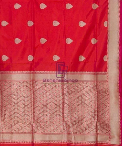 Banarasi Pure Katan Silk Handloom Rose Red Saree 6