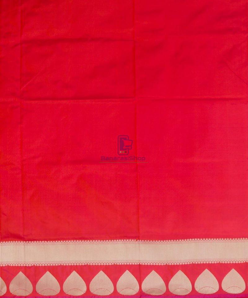 Banarasi Pure Katan Silk Handloom Rose Red Saree 4