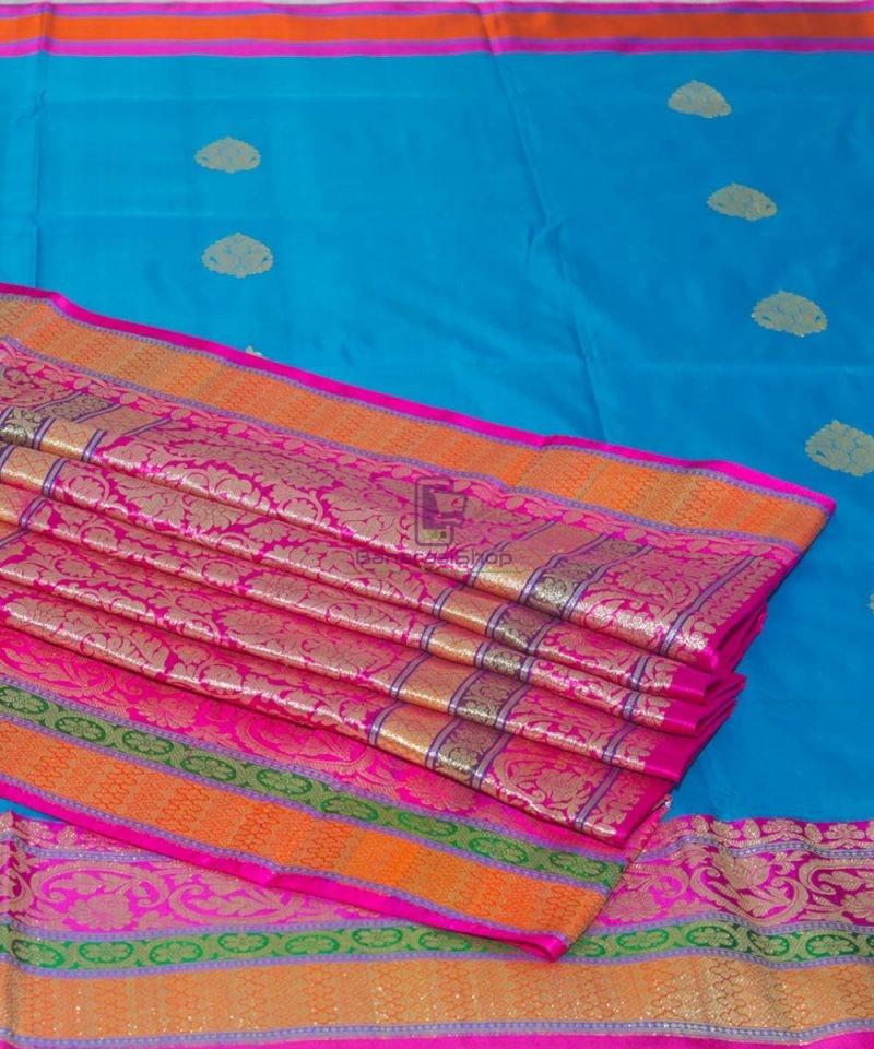 Banarasi Pure Katan Silk Handloom Blue and Purple Saree 1