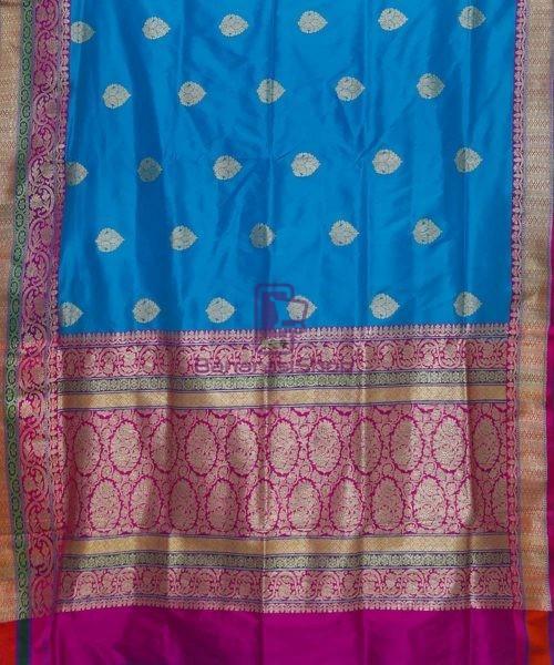 Banarasi Pure Katan Silk Handloom Blue and Purple Saree 5