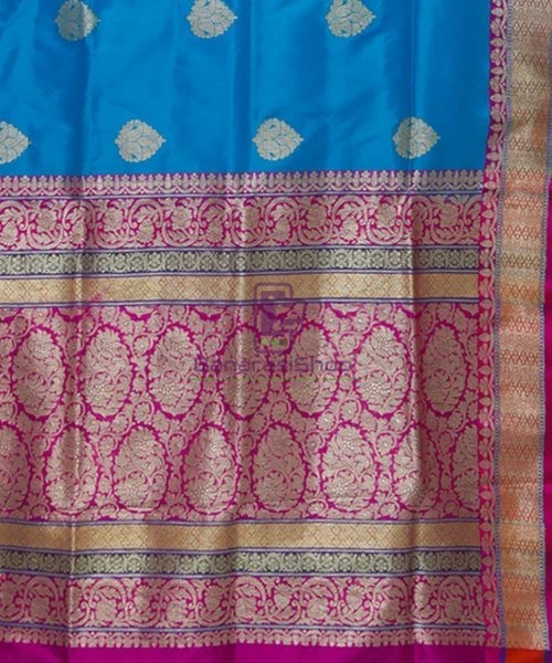Banarasi Pure Katan Silk Handloom Blue and Purple Saree 6