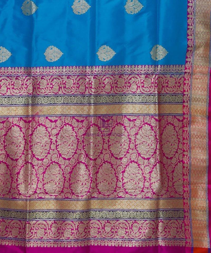 Banarasi Pure Katan Silk Handloom Blue and Purple Saree 3