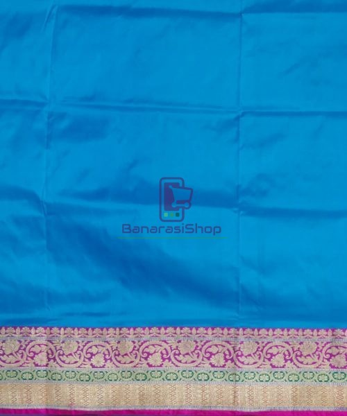 Banarasi Pure Katan Silk Handloom Blue and Purple Saree 7