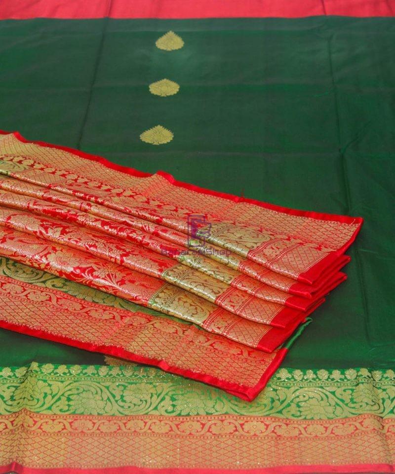 Banarasi Pure Katan Silk Handloom Dark Green Saree 1
