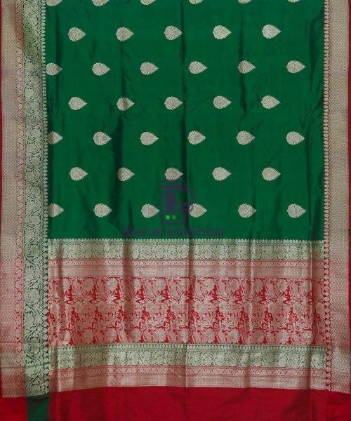 Banarasi Pure Katan Silk Handloom Dark Green Saree 5