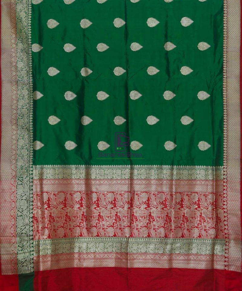 Banarasi Pure Katan Silk Handloom Dark Green Saree 2