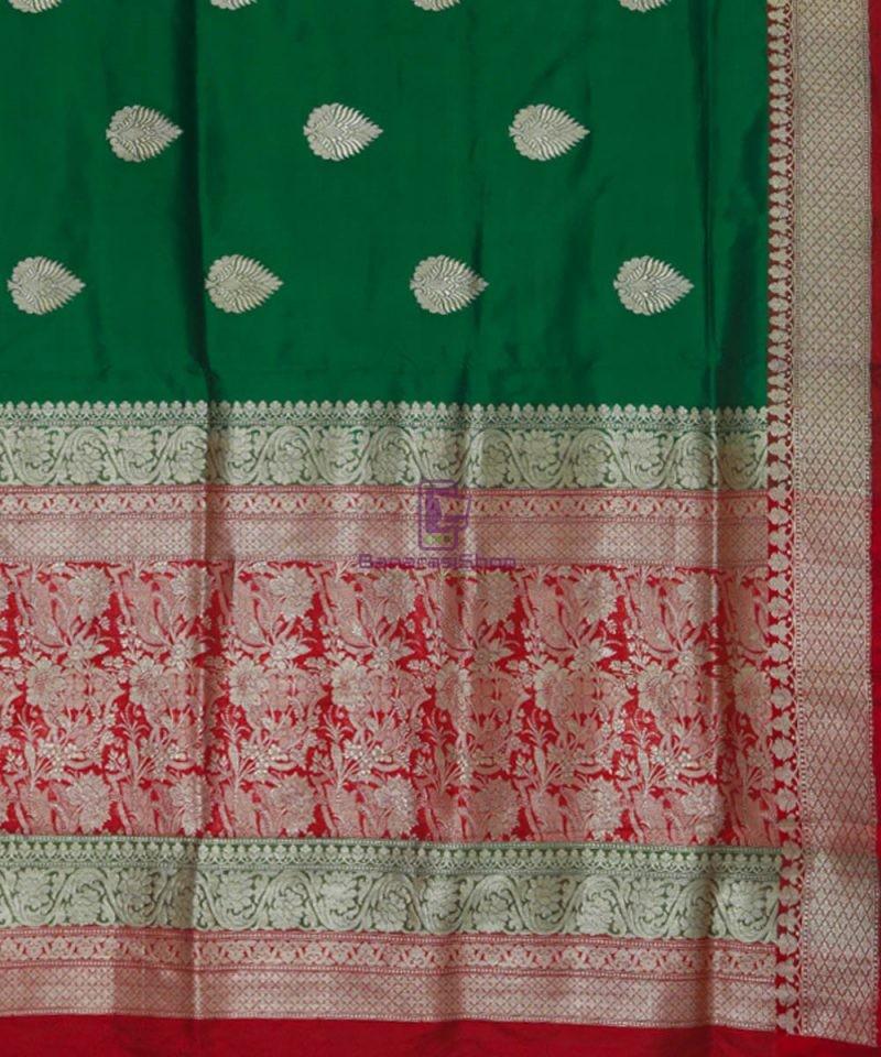 Banarasi Pure Katan Silk Handloom Dark Green Saree 3