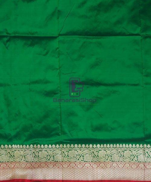 Banarasi Pure Katan Silk Handloom Dark Green Saree 7