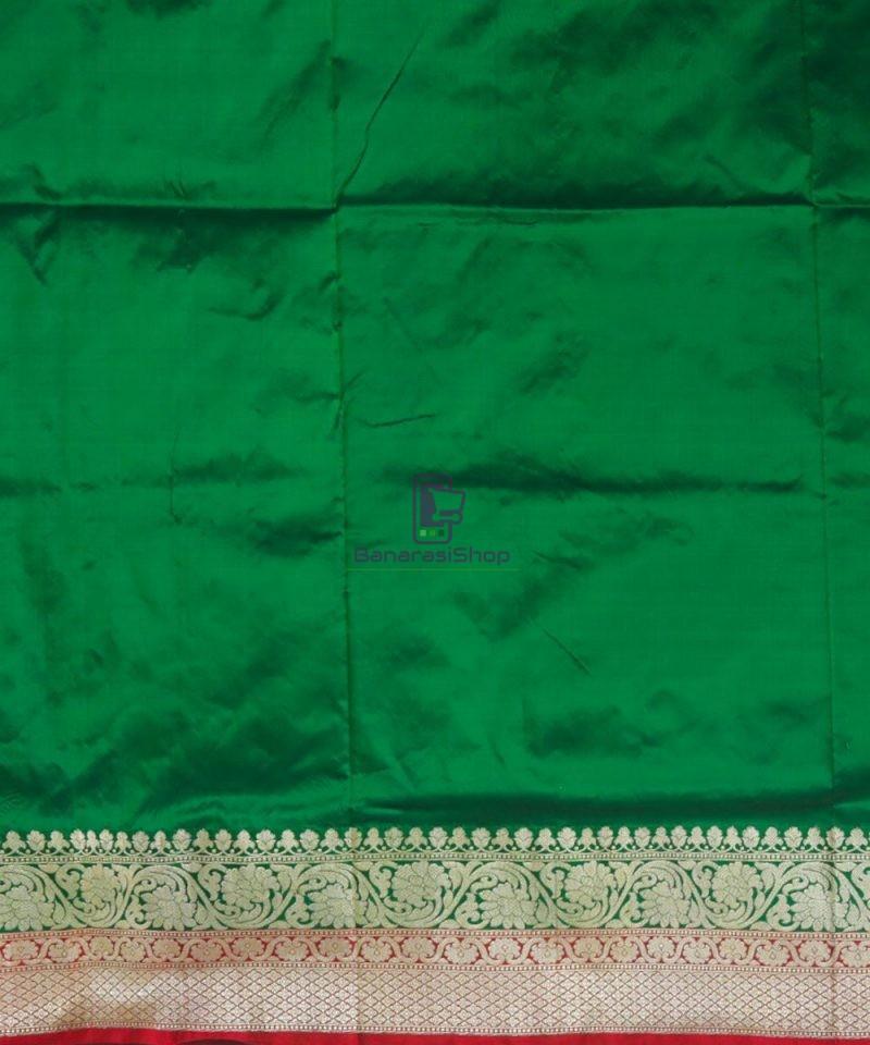 Banarasi Pure Katan Silk Handloom Dark Green Saree 4