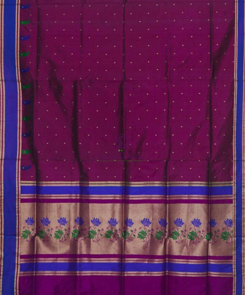 Banarasi Pure Katan Silk Handloom Wine Purple Saree 2