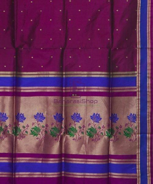 Banarasi Pure Katan Silk Handloom Wine Purple Saree 6