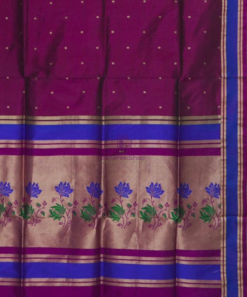 Banarasi Pure Katan Silk Handloom Wine Purple Saree 3