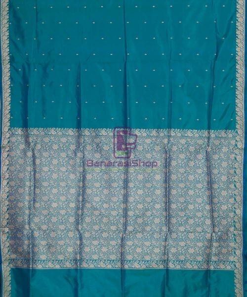 Banarasi Pure Katan Silk Handloom Ocean Blue Saree 5