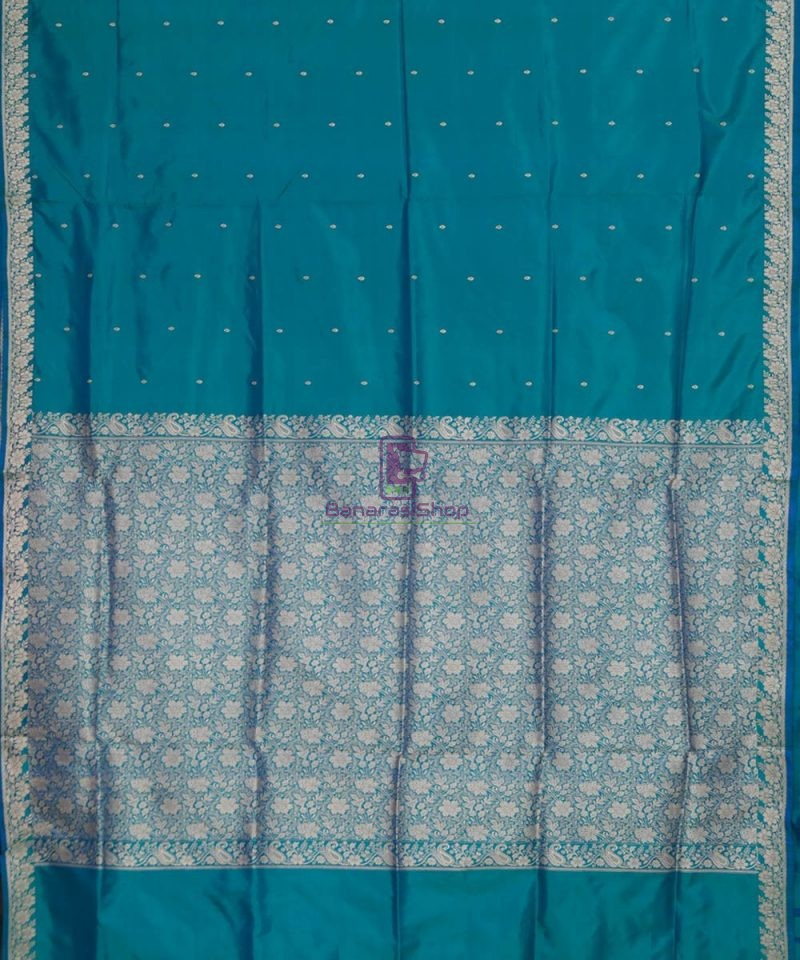 Banarasi Pure Katan Silk Handloom Ocean Blue Saree 2