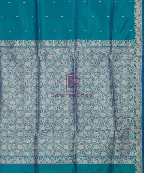 Banarasi Pure Katan Silk Handloom Ocean Blue Saree 6