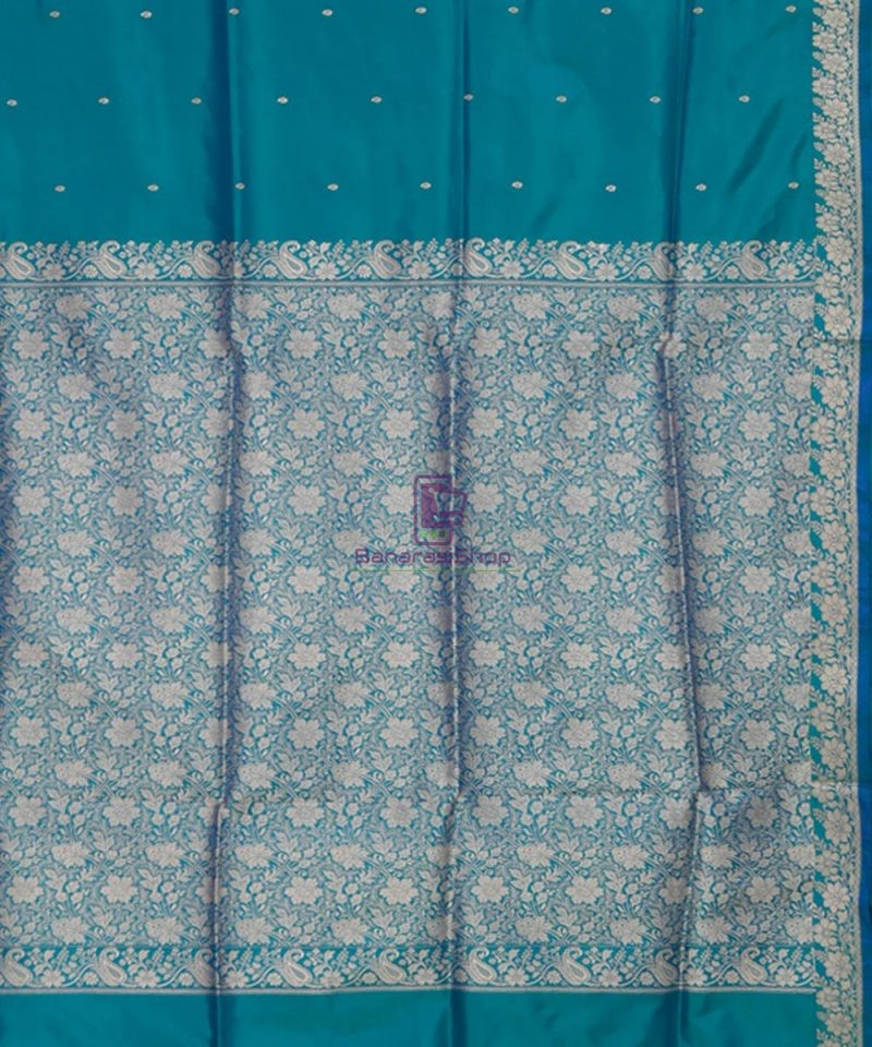 Banarasi Pure Katan Silk Handloom Ocean Blue Saree 3