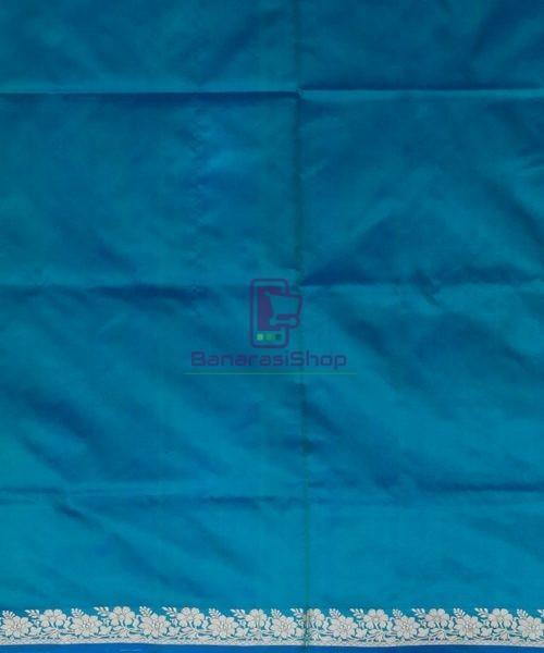 Banarasi Pure Katan Silk Handloom Ocean Blue Saree 7