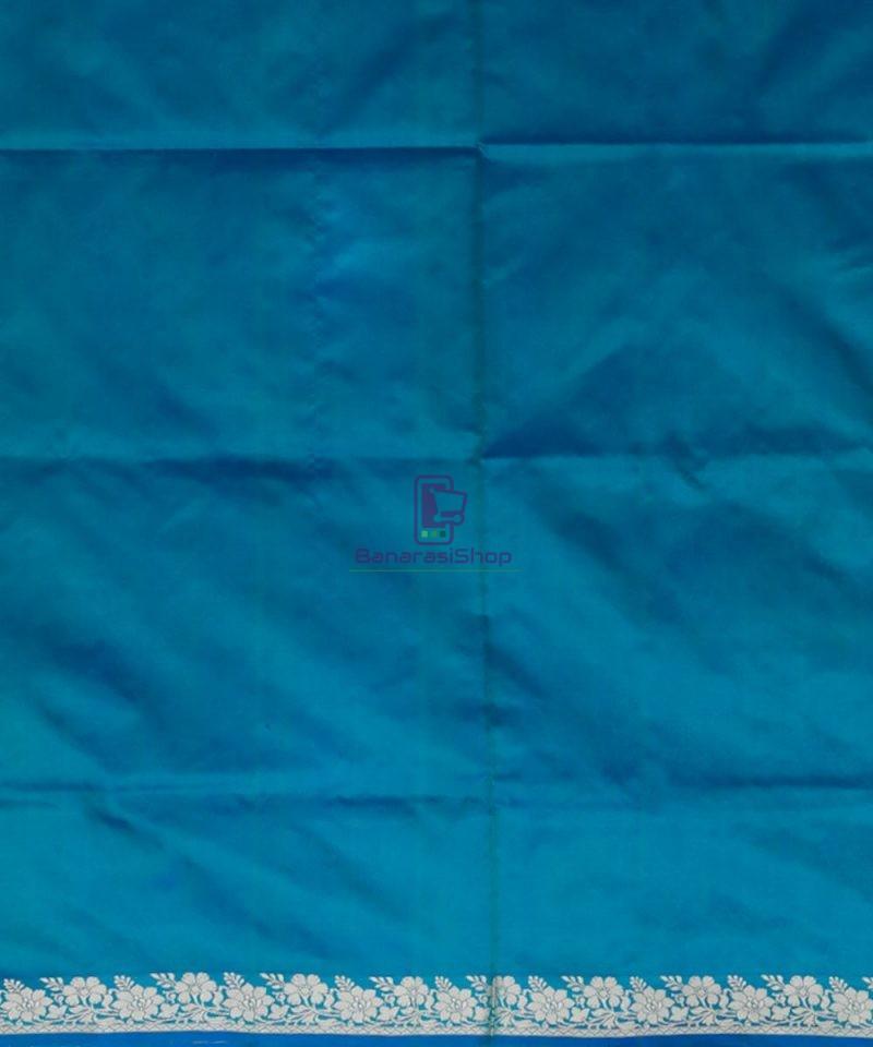 Banarasi Pure Katan Silk Handloom Ocean Blue Saree 4