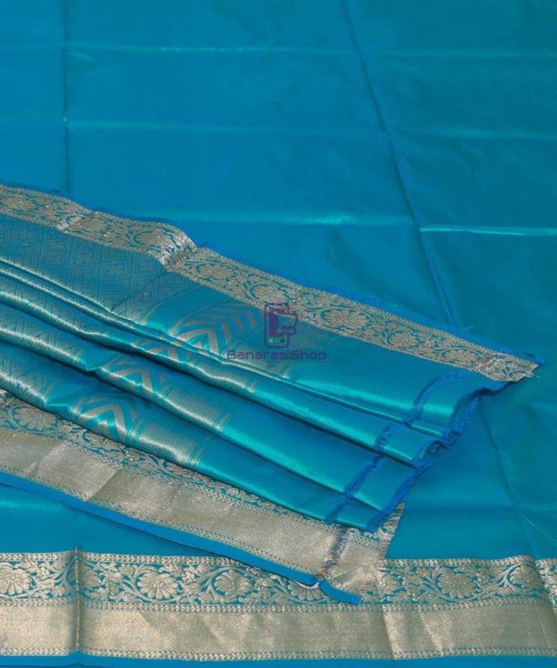 Banarasi Pure Katan Silk Handloom Cyan Blue Saree 1