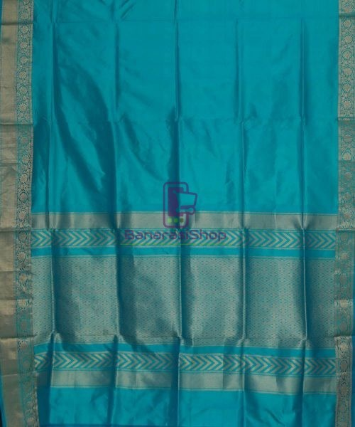Banarasi Pure Katan Silk Handloom Cyan Blue Saree 5
