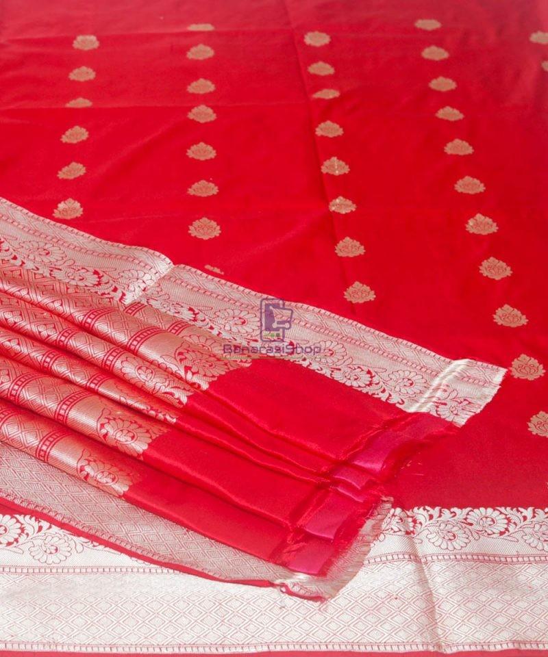 Banarasi Pure Katan Silk Handloom Cherry Red Saree 1