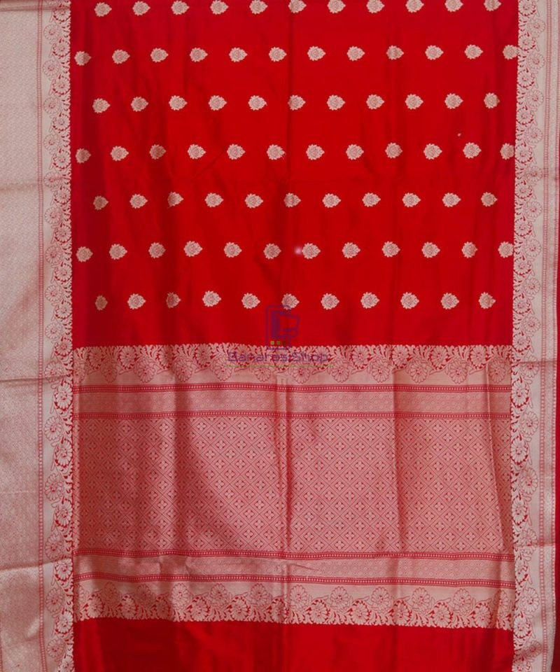 Banarasi Pure Katan Silk Handloom Cherry Red Saree 2