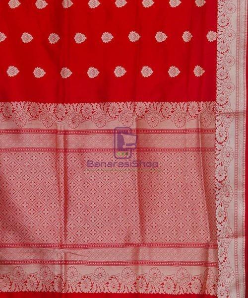 Banarasi Pure Katan Silk Handloom Cherry Red Saree 6