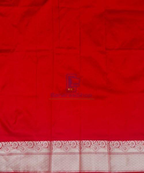 Banarasi Pure Katan Silk Handloom Cherry Red Saree 7